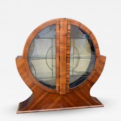 Art Deco Circular Display Vitrine Cabinet in Walnut 1930s - 1106993