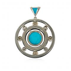 Art Deco Concentric Onyx Ring Pendant with Turquoise Diamonds and Pearls - 1658057