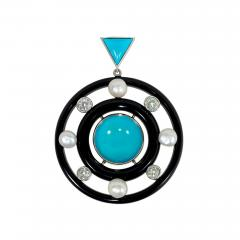 Art Deco Concentric Onyx Ring Pendant with Turquoise Diamonds and Pearls - 1659902
