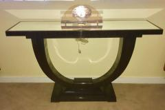 Art Deco Console U Shaped Base in Macassar wood in the style of Ruhlmann - 1387200