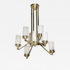 Art Deco Cubist Skyscraper Style Silvered Bronze Mottled Glass Chandelier - 2010084