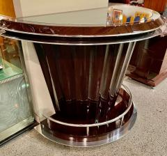 Art Deco Custom Fluted Front Stand Behind Bar with Chrome - 1334181
