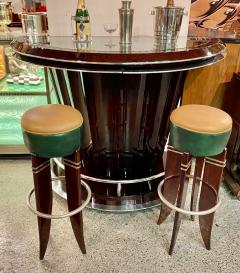 Art Deco Custom Fluted Front Stand Behind Bar with Chrome - 1334185