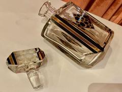 Art Deco Czech Decanter Glasses with Leopard Gold Black Designs - 1418660