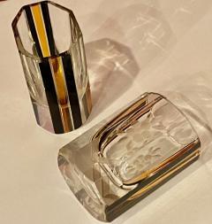 Art Deco Czech Decanter Glasses with Leopard Gold Black Designs - 1418662