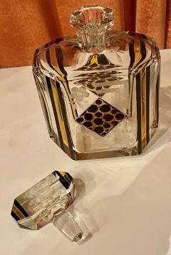 Art Deco Czech Decanter Glasses with Leopard Gold Black Designs - 1418668