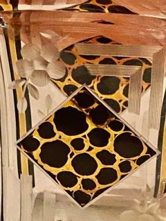 Art Deco Czech Decanter Glasses with Leopard Gold Black Designs - 1418670