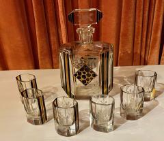 Art Deco Czech Decanter Glasses with Leopard Gold Black Designs - 1418671