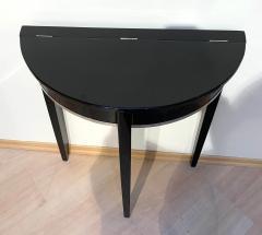 Art Deco Demi Lune Console Table Black Piano Lacquer on Oak France circa 1930 - 1331650