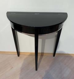 Art Deco Demi Lune Console Table Black Piano Lacquer on Oak France circa 1930 - 1331651
