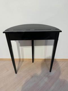 Art Deco Demi Lune Console Table Black Piano Lacquer on Oak France circa 1930 - 1331671
