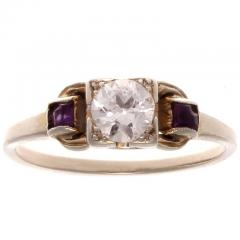 Art Deco Diamond Amethyst Gold Engagement Ring - 417981