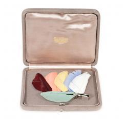 Art Deco Diamond Enamel Interchangeable Feather Brooch Retailed by Boucheron - 1224064