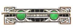 Art Deco Diamond Onyx and Jade Bar Brooch - 178546