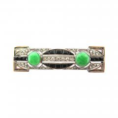 Art Deco Diamond Onyx and Jade Bar Brooch - 178857