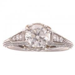 Art Deco Diamond Platinum Engagement Ring - 390702