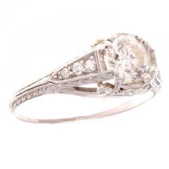 Art Deco Diamond Platinum Engagement Ring - 390703