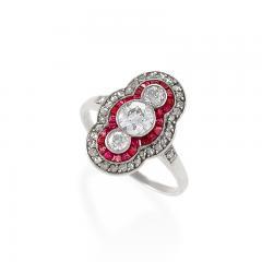 Art Deco Diamond Ruby Platinum and Gold Plaque Ring - 676086