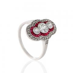 Art Deco Diamond Ruby Platinum and Gold Plaque Ring - 676087