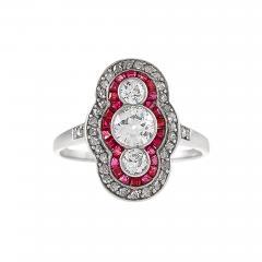 Art Deco Diamond Ruby Platinum and Gold Plaque Ring - 676571