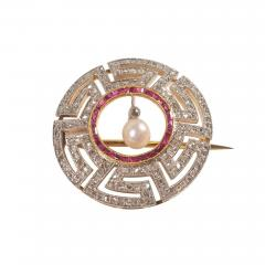Art Deco Diamond Ruby and Pearl Geometric Brooch - 1045094