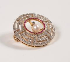 Art Deco Diamond Ruby and Pearl Geometric Brooch - 963589