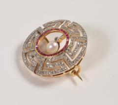 Art Deco Diamond Ruby and Pearl Geometric Brooch - 963601