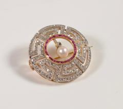 Art Deco Diamond Ruby and Pearl Geometric Brooch - 963603