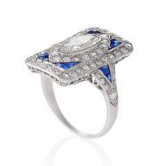 Art Deco Diamond Sapphire and Platinum Plaque Ring - 303948