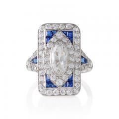 Art Deco Diamond Sapphire and Platinum Plaque Ring - 303949