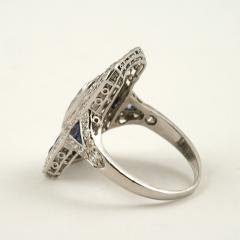 Art Deco Diamond Sapphire and Platinum Plaque Ring - 303950