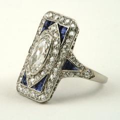 Art Deco Diamond Sapphire and Platinum Plaque Ring - 303951