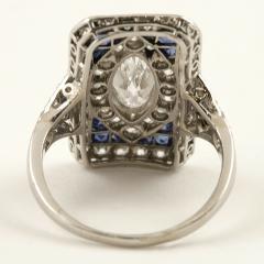 Art Deco Diamond Sapphire and Platinum Plaque Ring - 303952