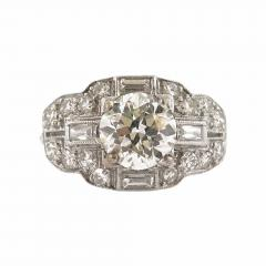 Art Deco Diamond and Baguette Accent Ring - 318024