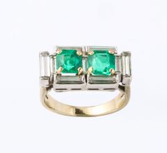 Art Deco Diamond and Emerald Gold and Platinum Ring - 2001008