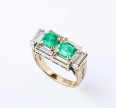 Art Deco Diamond and Emerald Gold and Platinum Ring - 2001009