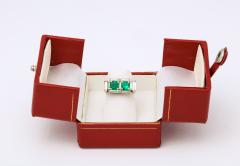 Art Deco Diamond and Emerald Gold and Platinum Ring - 2001012