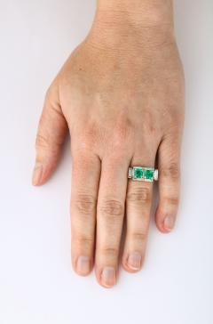 Art Deco Diamond and Emerald Gold and Platinum Ring - 2001016