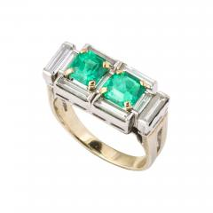 Art Deco Diamond and Emerald Gold and Platinum Ring - 2003926