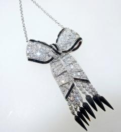 Art Deco Diamond and Onyx Pendant Necklace circa 1925 - 1141444