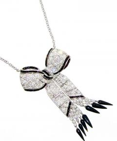 Art Deco Diamond and Onyx Pendant Necklace circa 1925 - 1141445