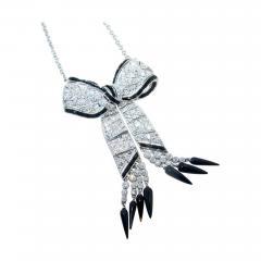 Art Deco Diamond and Onyx Pendant Necklace circa 1925 - 1141772