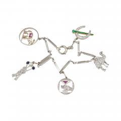 Art Deco Diamond and Platinum Charm Bracelet Circa 1930s - 181573
