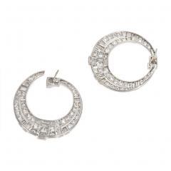 Art Deco Diamond and Platinum Tapered Hoop Earrings - 1715427