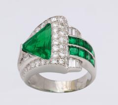 Art Deco Emerald Diamond Ring - 670721