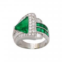 Art Deco Emerald Diamond Ring - 672035