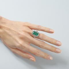 Art Deco Emerald Diamond and Platinum Ring - 272894