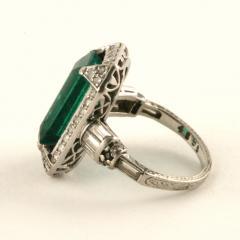 Art Deco Emerald Diamond and Platinum Ring - 272895