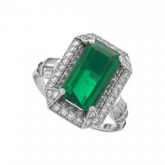 Art Deco Emerald Diamond and Platinum Ring - 273217