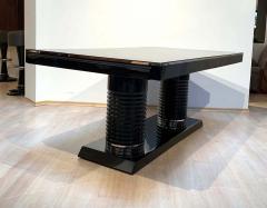 Art Deco Expandable Table Black Lacquer Metal Trims France circa 1930 - 2119071